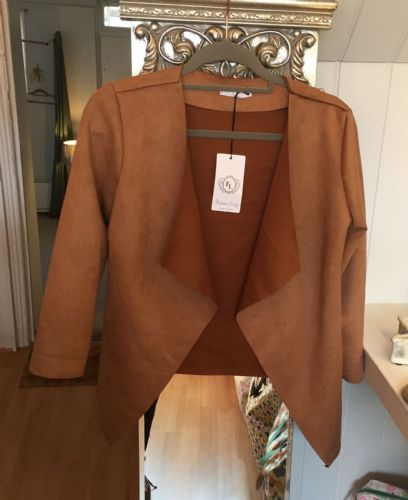 Faux Suede Open Jacket -  Camel